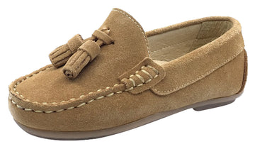 Andanines  Boy's Suede Tassel Loafers, Arena Sand