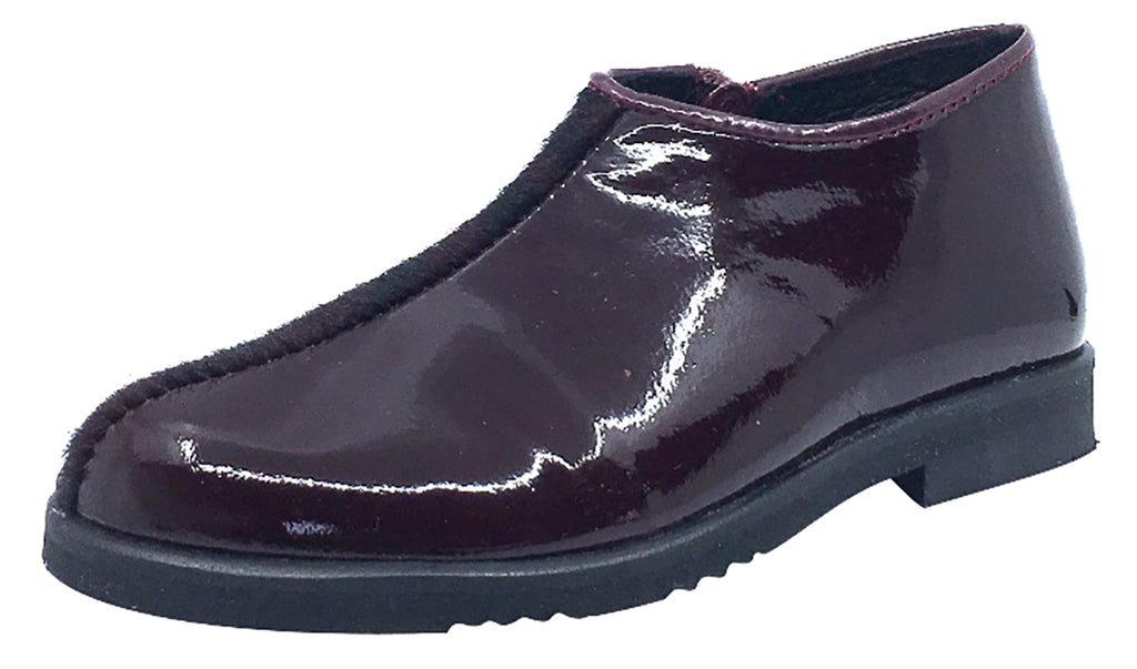 Luccini Girl's Half Patent Half Pony Hair Zip-Up Fashion Boots, Burgundy Patent/Burgundy Pony Hair