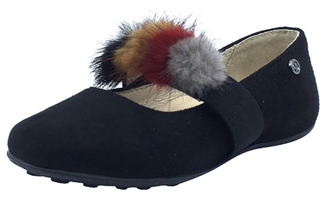 Naturino Girl's Faux Fur Pom Pom Slip-On Elastic Band Mary Jane Flat, Black Suede