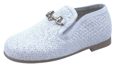 Luccini Boy's & Girl's BA158 CHA Seta Print Natural Loafer - White