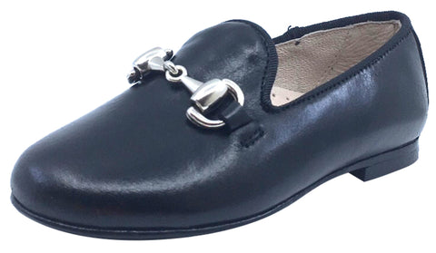 Hoo Shoes Boy's and Girl's Smoking Loafer, Black Leather with Chain