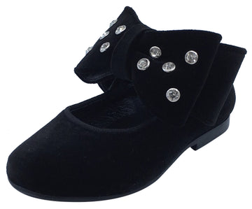 Luccini Girl's Black Velvet Mary Jane with Big Bow Embellishment