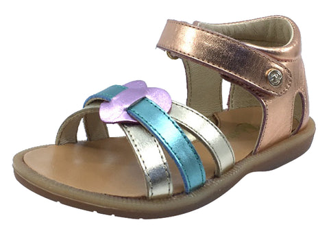 Naturino Girl's Ambra Laminato Open Toe Sandals, Rainbow Metallic