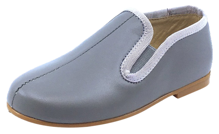 Luccini Boy's and Girl's Front Seam Slip-On Smoking Loafer, Grey