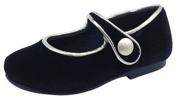 Luccini Girl's Black Velvet Mary Jane with Light Gold Trim