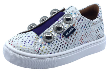 Atlanta Mocassin Shoes Girl's Iridescent Sneakers, White