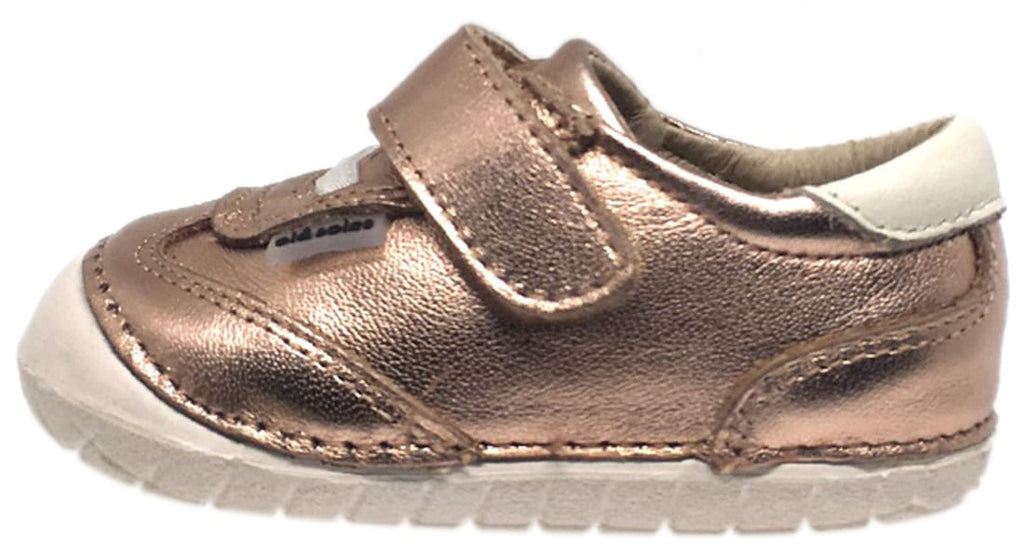 Old Soles Girl's 4011 Sporty Pave Copper Leather Elastic Laces Hook and Loop Walker Baby Shoe Sneaker