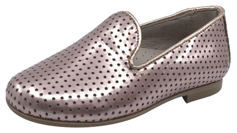 Hoo Shoes Girl's Smoking Loafer, Rose Gold Perforated Leather