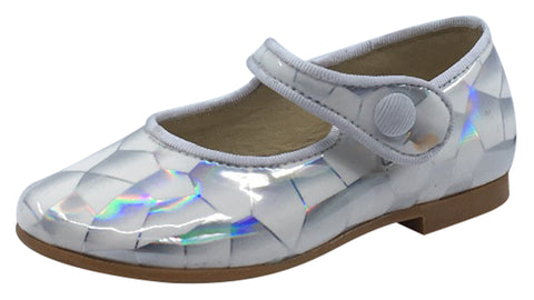 Luccini Girl's Snap Mary Jane , White Iridescent