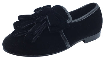 Luccini Girl's Black Velvet Slip On Ribbon Dress Shoe