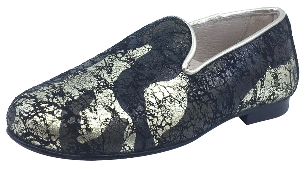 Hoo Shoes Boy's and Girl's Smoking Loafer, Black/Gold Marble Leather