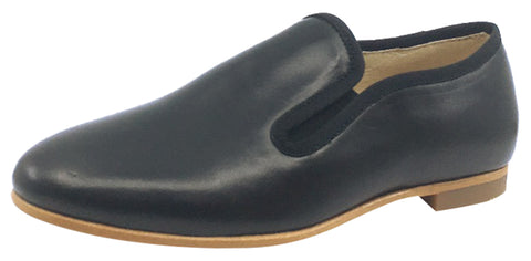 Luccini Girl's Slip-On Smoking Loafer, Black Leather