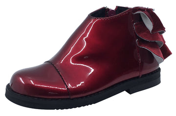 Luccini Girl's Ruffle Back Bootie, Burgundy Patent