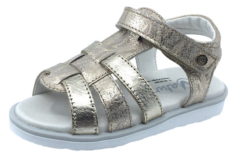 Naturino Girl's Bright Rasso Leather Sandals, Platino