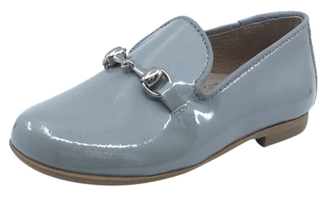 Hoo Shoes  Boy's and Girl's Chain Chain Smoking Loafer, Grey Patent