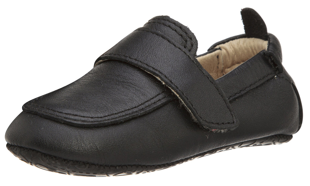 Old Soles Boy's and Girl's 043 Global Shoe Black Leather Hook and Loop Strap Slip On Loafer Shoe