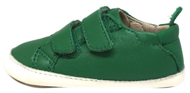 Old Soles 113R Boy's and Girl's Green Bambini Soft Leather Double Strap First Walker Sneaker Shoe