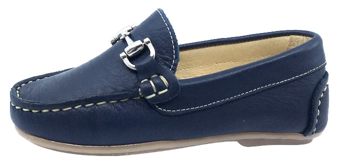 Andanines  Boy's Chain Loafers, Nuit Navy Blue