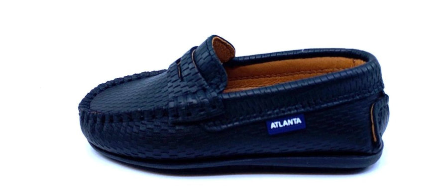 Atlanta Mocassin Boy's & Girl's Black Perforated Slip On Moccasin Penny Loafer Shoe