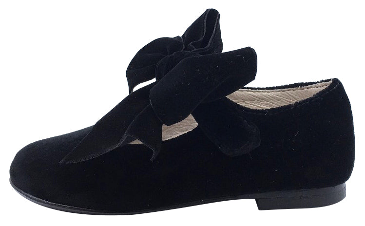 Hoo Shoes Girl's Velvet Mary Jane with Big Bow, Black