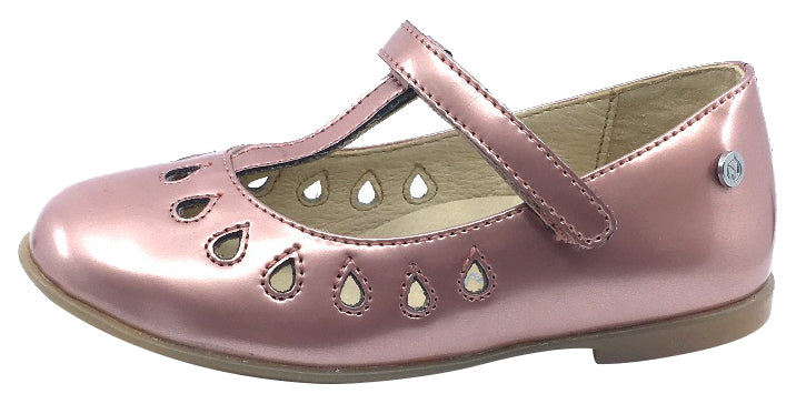 Naturino Girl's Cosenza T-Strap with cut-outs Ballet Flat, Satin Rose