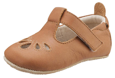 Old Soles Girl's 053 T-Petal Cut-Out Detail Warm Tan Leather Mary Jane Flats