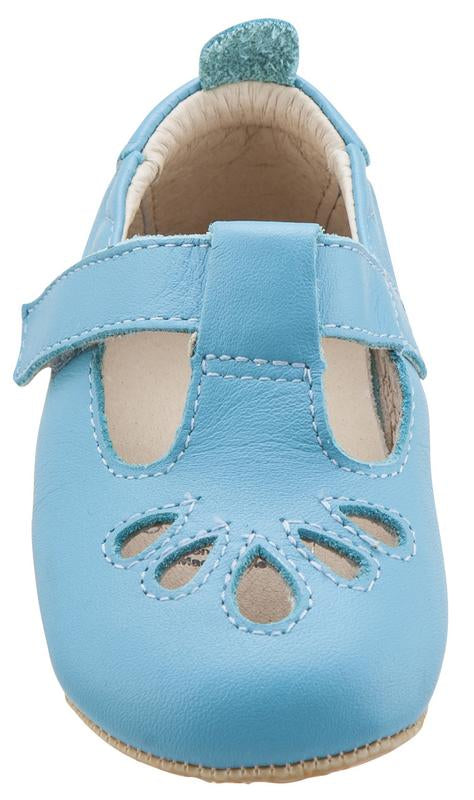 Old Soles Girl's 053 T-Petal Cut-Out Detail Turquoise Blue Leather Mary Jane Flats