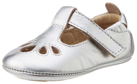 Old Soles Girl's 053 T-Petal Cut-Out Detail Silver Leather Mary Jane Flats