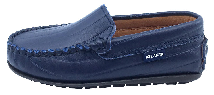 Atlanta Mocassin Boy's and Girl's Leather Embossed Stripe Loafers, Navy