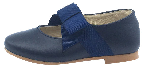 Luccini Girl's Mary Jane with Grosgrain Bow, Navy