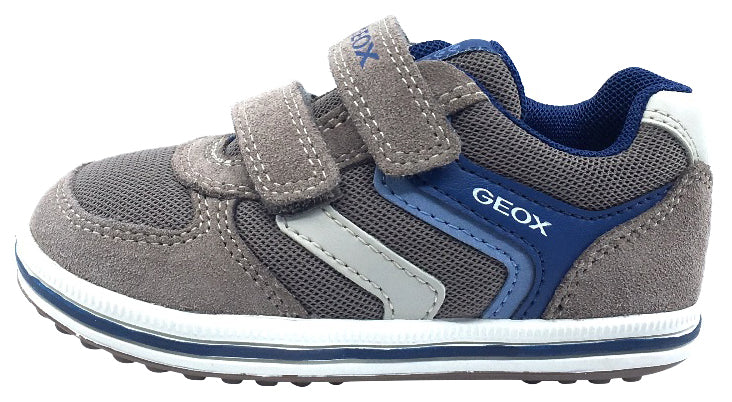 GEOX Boy's Vita Hook and Loop Closure Sneaker Tennis Shoes, Beige/Avio