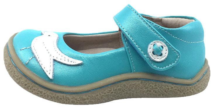 Livie & Luca Girl's Pio Pio Aqua Shimmer Smooth Leather with Sparkly Dove Detail Mary Jane Flat Shoes
