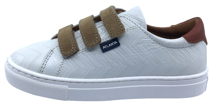 Atlanta Mocassin Boy's Leather Hook and Loop Sneakers, Cream/Tan Leather