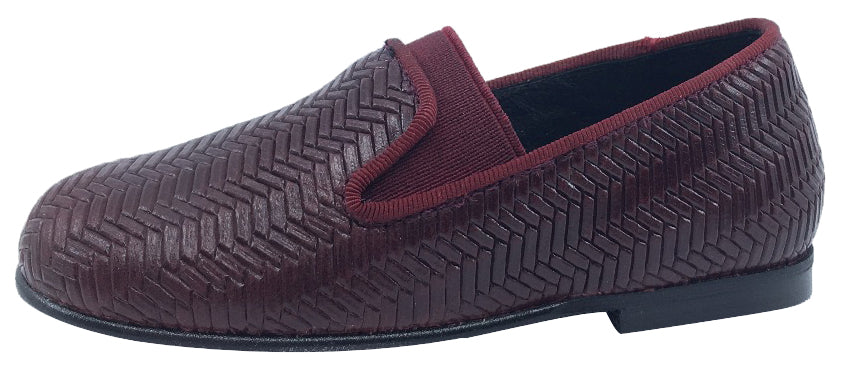 Luccini Boy's and Girl's Slip-On Smoking Loafer (Burgundy Embossed Leather)