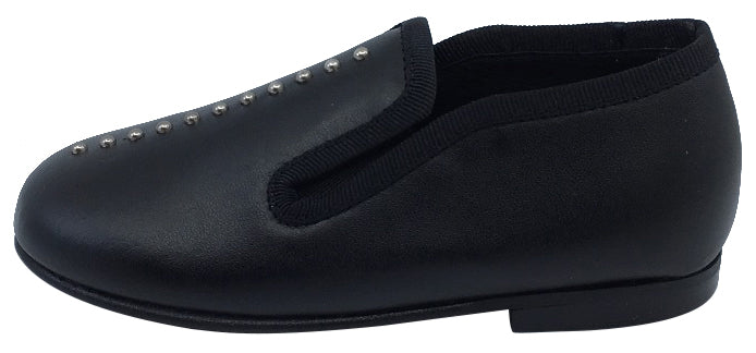 Luccini Studs Girl's & Boy's Black Leather Slip On Dress Shoe