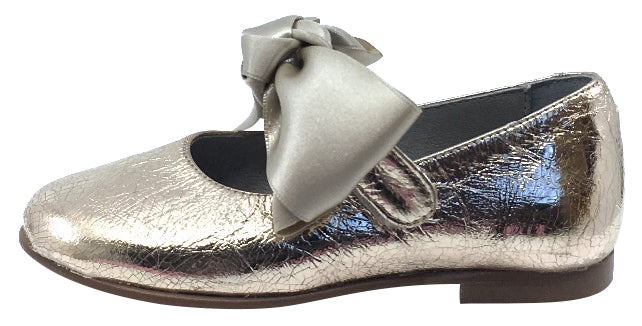 Luccini Girl's Bow Mary Jane, Platino