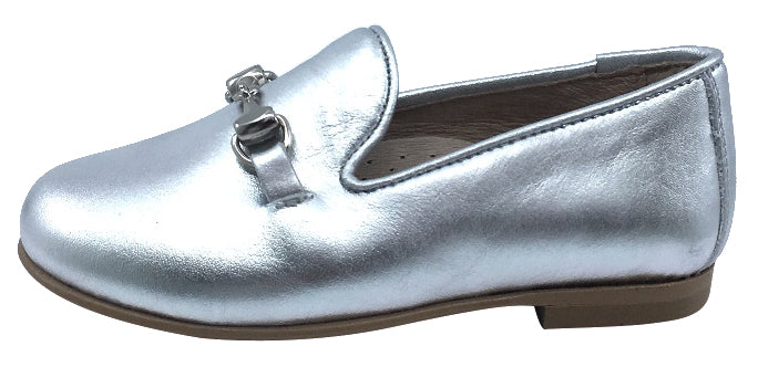 Hoo Shoes Boy's and Girl's Chain Chain Smoking Loafer, Silver
