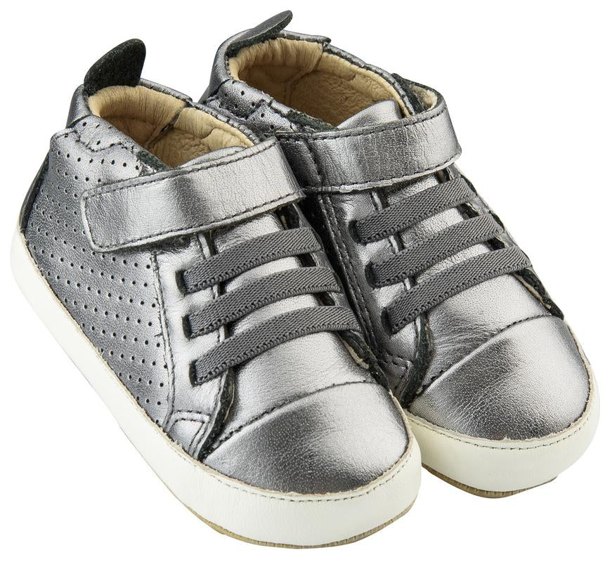 Old Soles Cheer Bambini First Walker Trainer Sneakers, Rich Silver / White