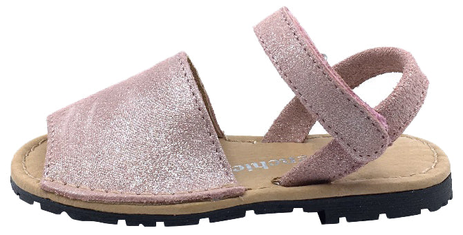 ChildrenChic Girl's Menorquina Sandals, Antique Pink Shimmer