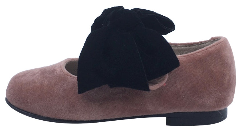 Hoo Shoes Girl's Velvet Mary Jane, Pink with Big Black Bow