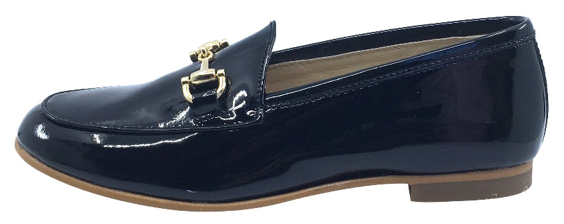 Luccini Girl's Chain Slip-On Smoking Loafer, Black Patent Leather