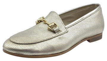 Luccini Girl's Slip-On Smoking Loafer, Champagne