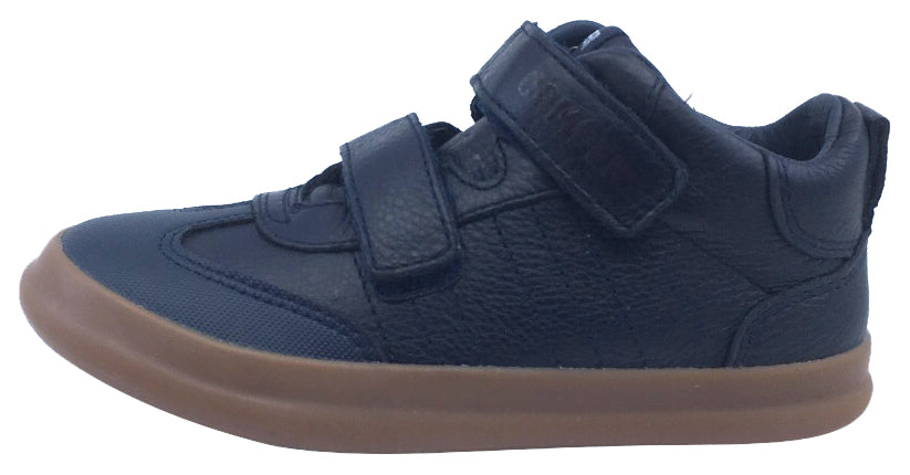 Camper for Boy's and Girl's Leather Hook and Loop Navy Caramel Hightop