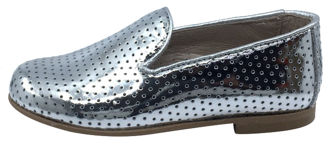 Hoo Shoes Smoking Loafer, Silver Perforated Leather