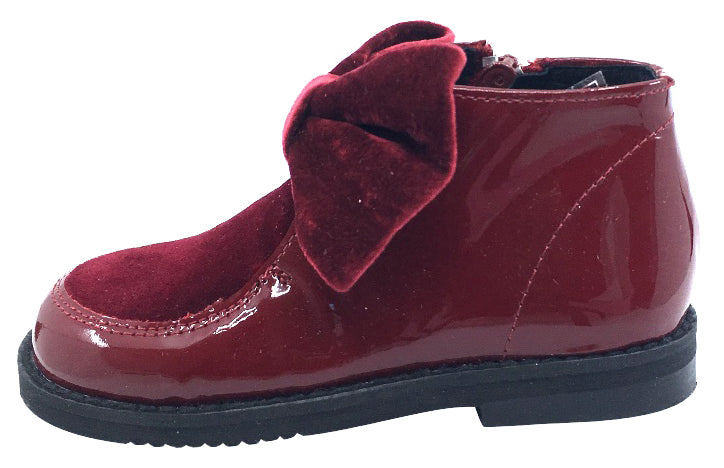 Luccini Girl's Bow Bootie, Burgundy Patent