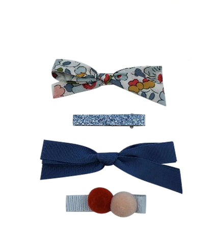 Five / Eleven Set 4 Hairclip Liberty Bow Pom Pom Floral Blue Navy