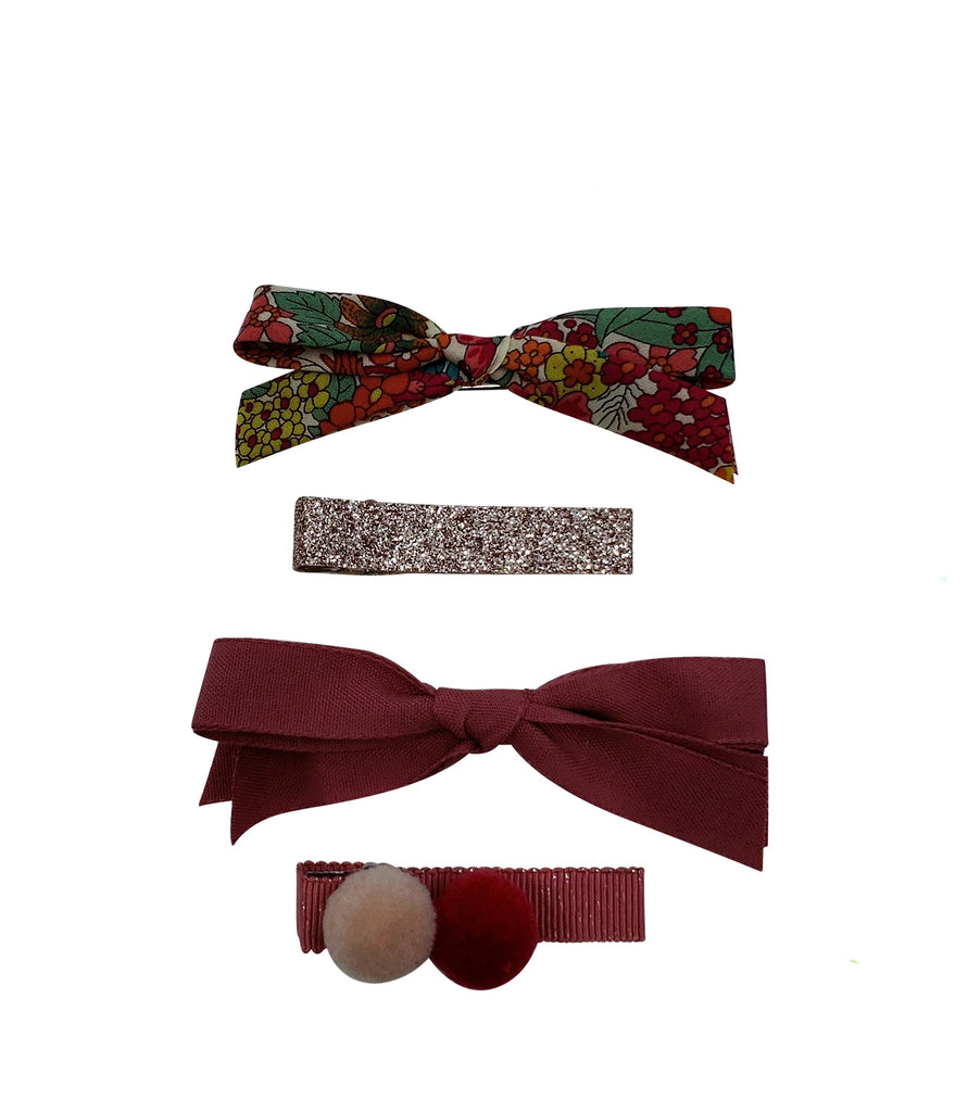 Five / Eleven Set 4 Hairclip Liberty Bow Pom Pom Floral Burgundy