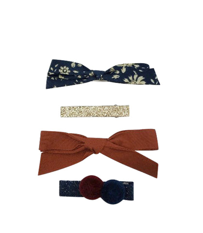 Five / Eleven Set 4 Hairclip Liberty Bow Pom Pom Floral Blue Orange