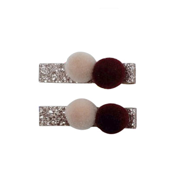 Five / Eleven Hairclip Pom Pom H Sparkle Rose Burgundy