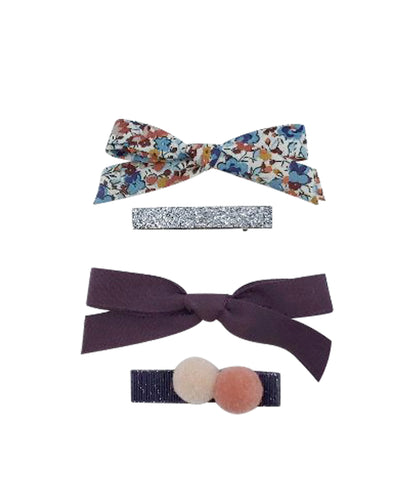 Five / Eleven Set 4 Hairclip Liberty Bow Pom Pom Floral Multi